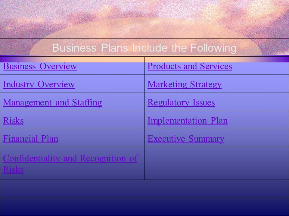 Business Plans Include the Following