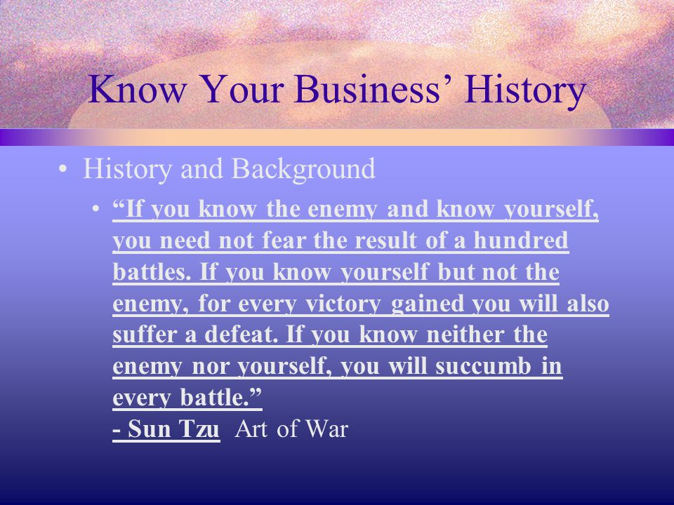 Know Your Business' History