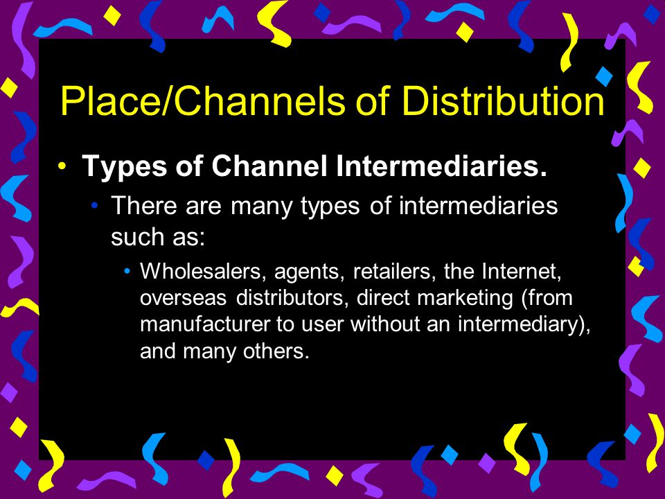 Place/Channels of Distribution