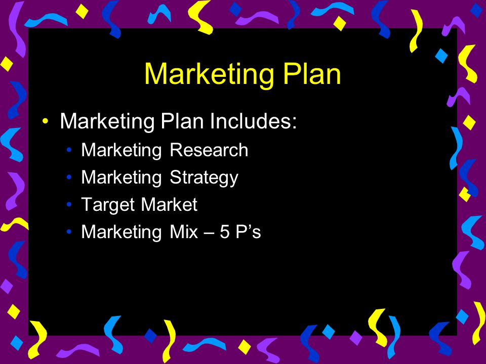 Marketing Plan Marketing Plan Includes: Marketing Research