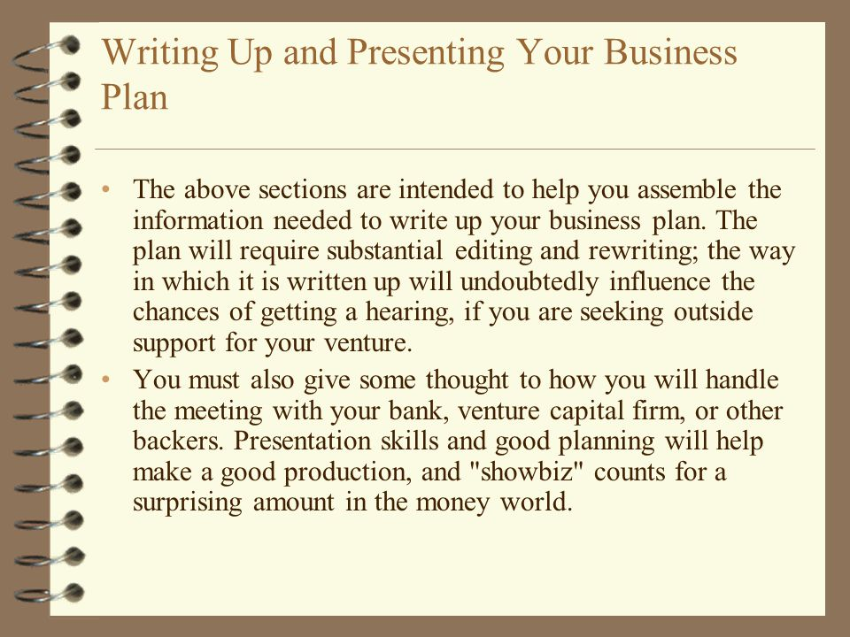 Writing Up and Presenting Your Business Plan
