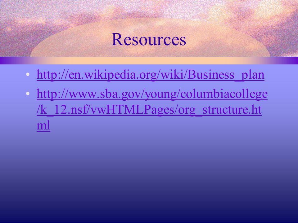 Resources http://en.wikipedia.org/wiki/Business_plan