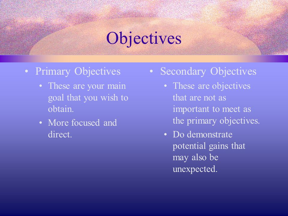 Objectives Primary Objectives Secondary Objectives
