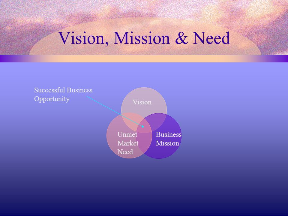 Vision, Mission & Need Successful Business Opportunity Vision Unmet