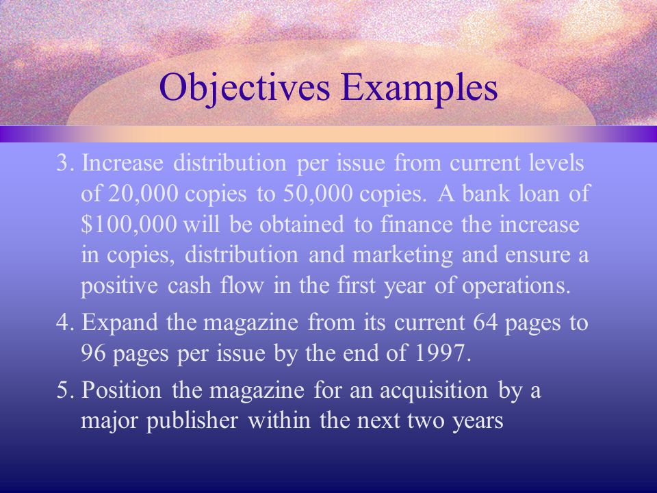 Objectives Examples