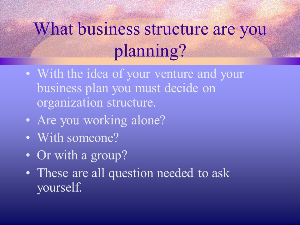What business structure are you planning