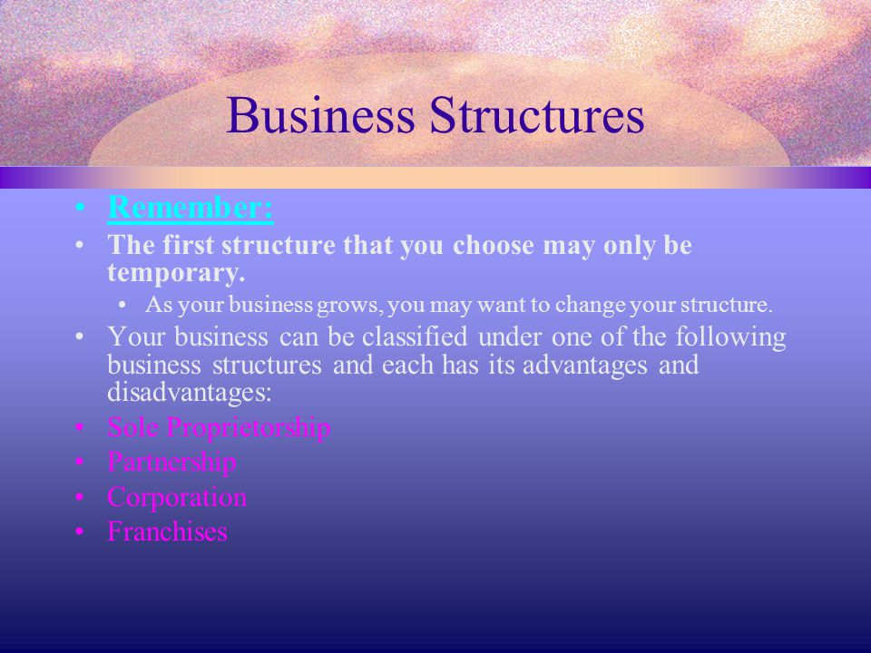 Business Structures Remember: