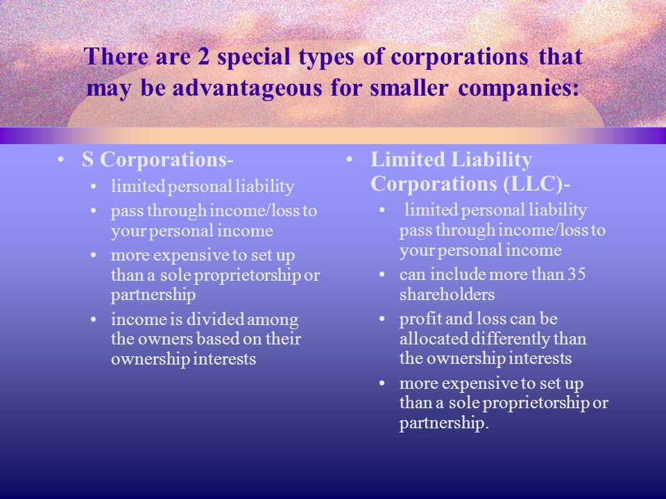 There are 2 special types of corporations that may be advantageous for smaller companies: