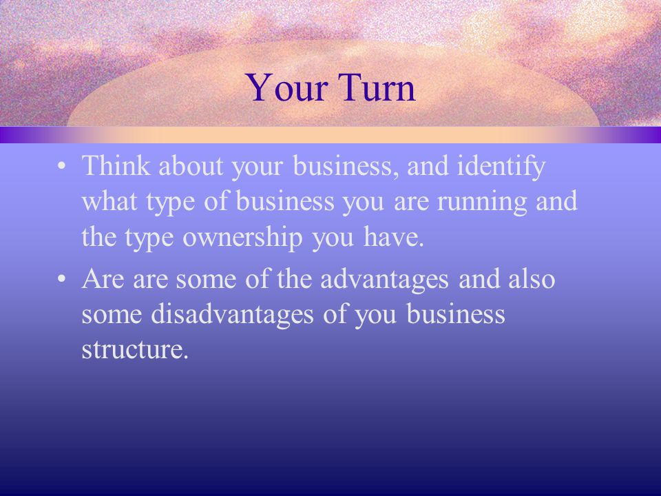 Your Turn Think about your business, and identify what type of business you are running and the type ownership you have.