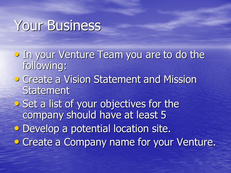 Your Business In your Venture Team you are to do the following: