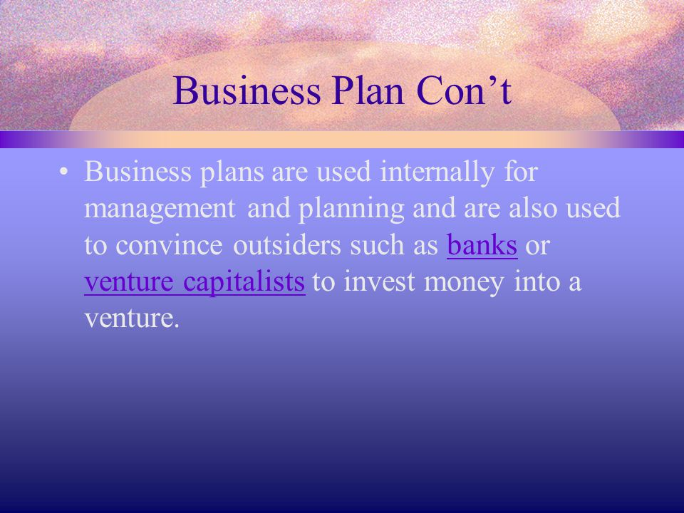 Business Plan Con't