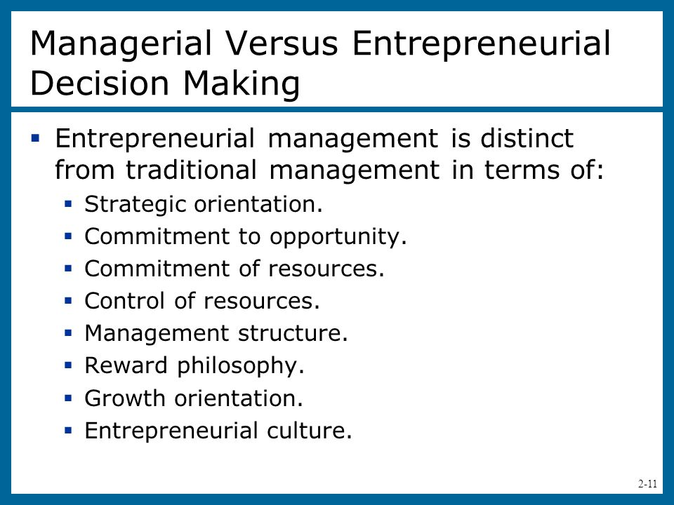Managerial Versus Entrepreneurial Decision Making