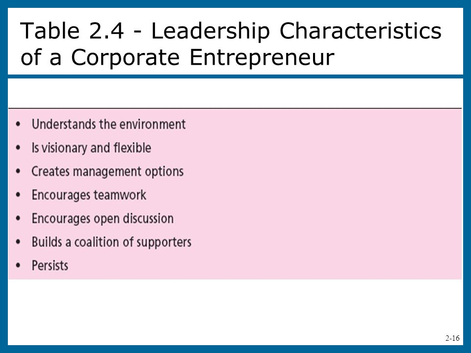 Table 2.4 - Leadership Characteristics of a Corporate Entrepreneur