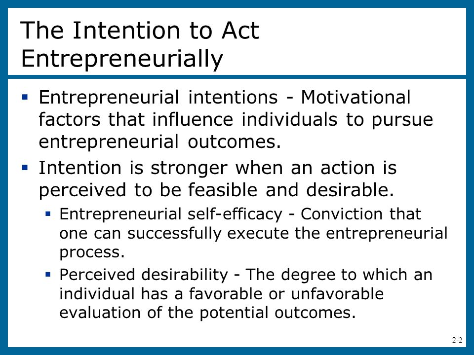 The Intention to Act Entrepreneurially