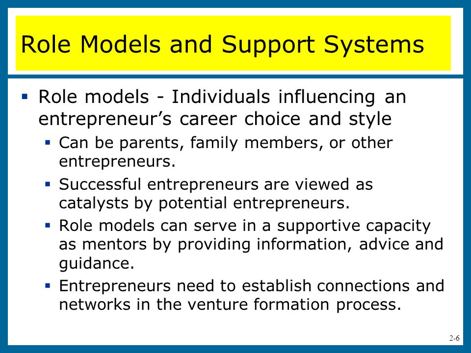 Role Models and Support Systems