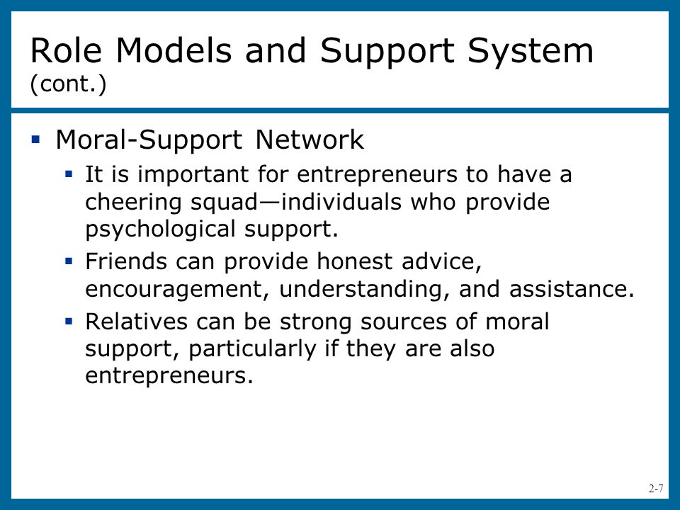 Role Models and Support System (cont.)