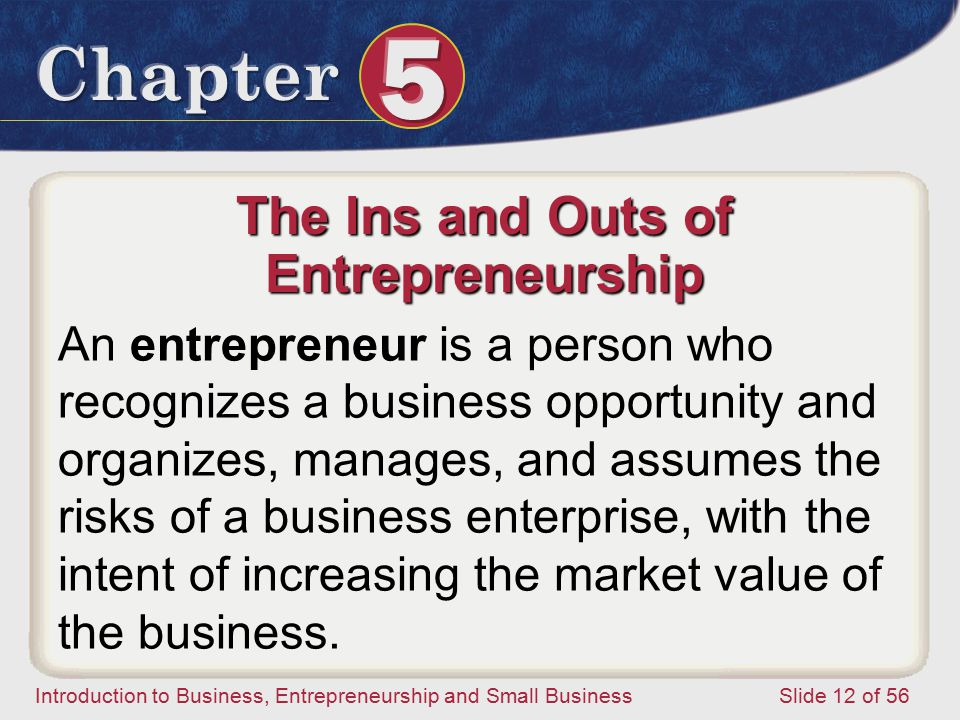 The Ins and Outs of Entrepreneurship