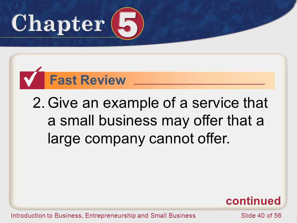 Fast Review Give an example of a service that a small business may offer that a large company cannot offer.