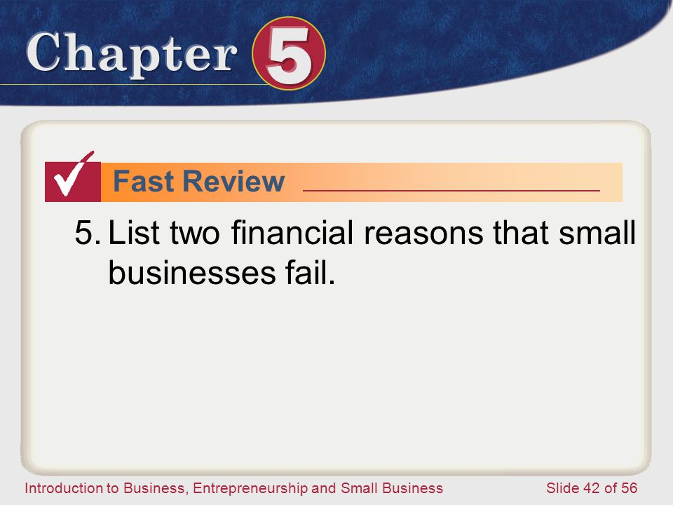 List two financial reasons that small businesses fail.