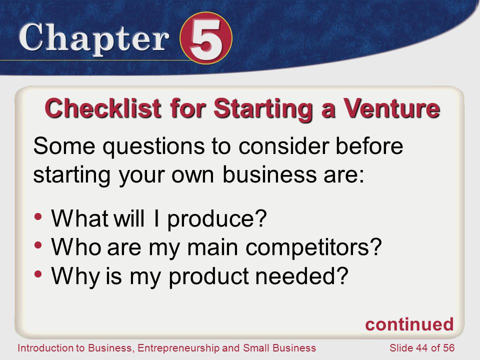 Checklist for Starting a Venture