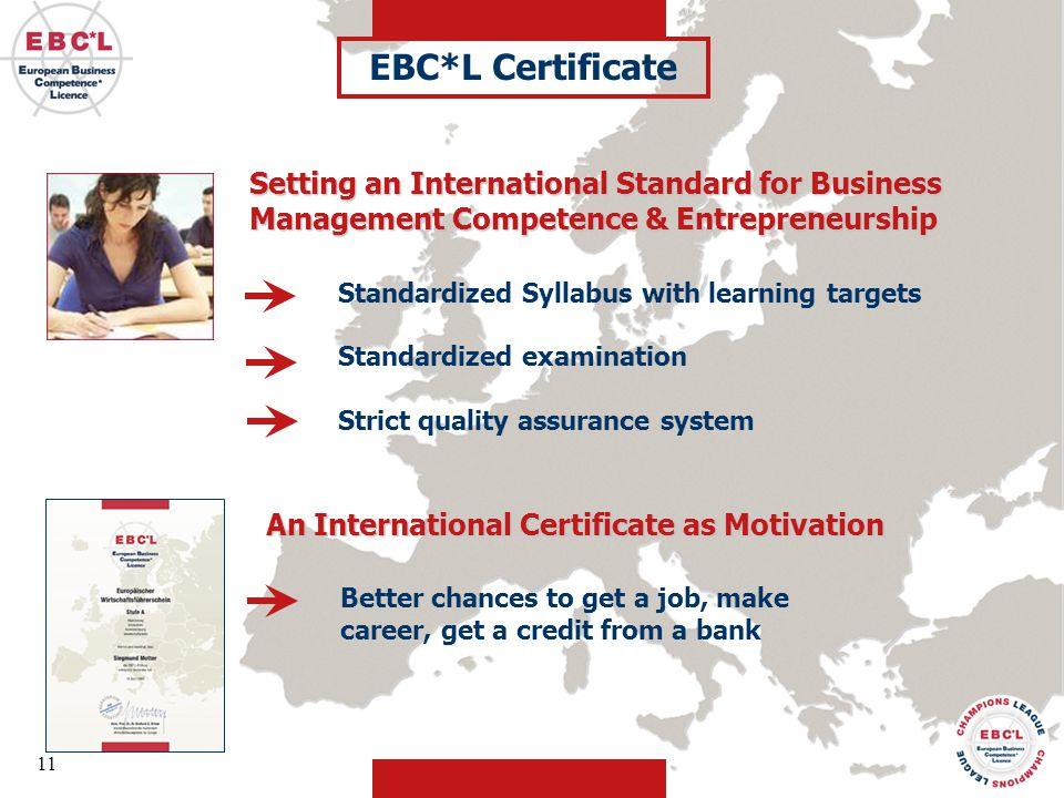 EBC*L Certificate Setting an International Standard for Business Management Competence & Entrepreneurship.