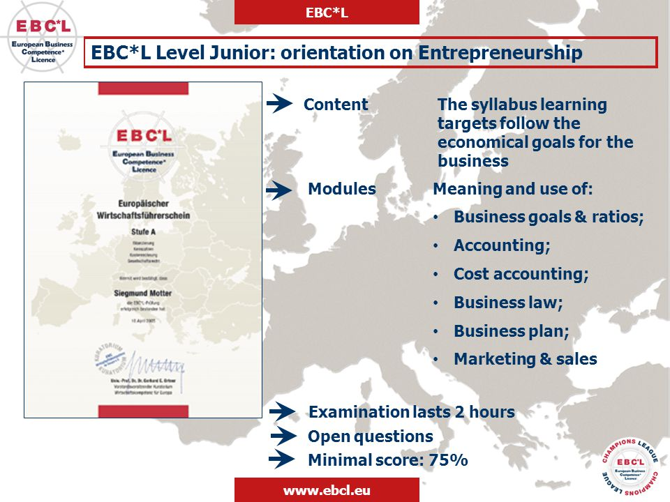 EBC*L Level Junior: orientation on Entrepreneurship