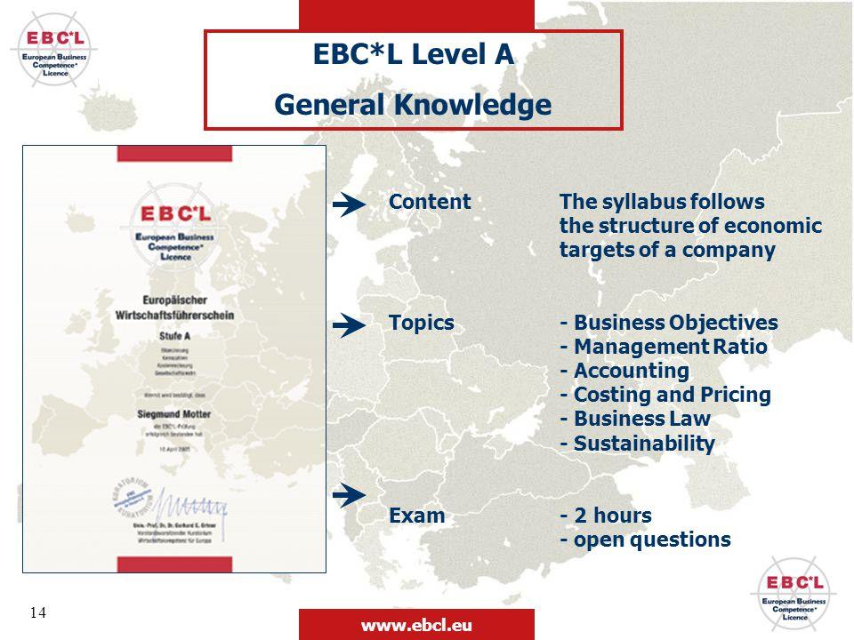 EBC*L Level A General Knowledge