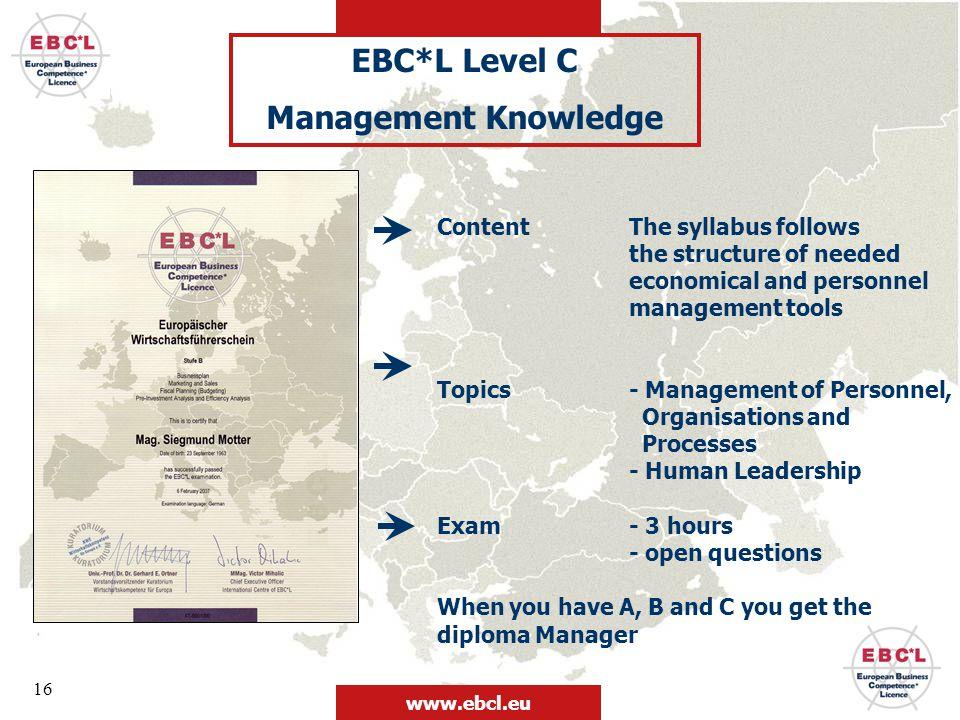 EBC*L Level C Management Knowledge
