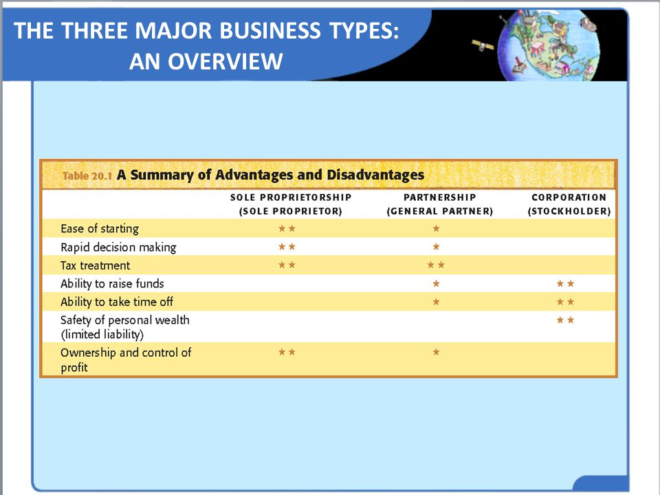 THE THREE MAJOR BUSINESS TYPES: AN OVERVIEW