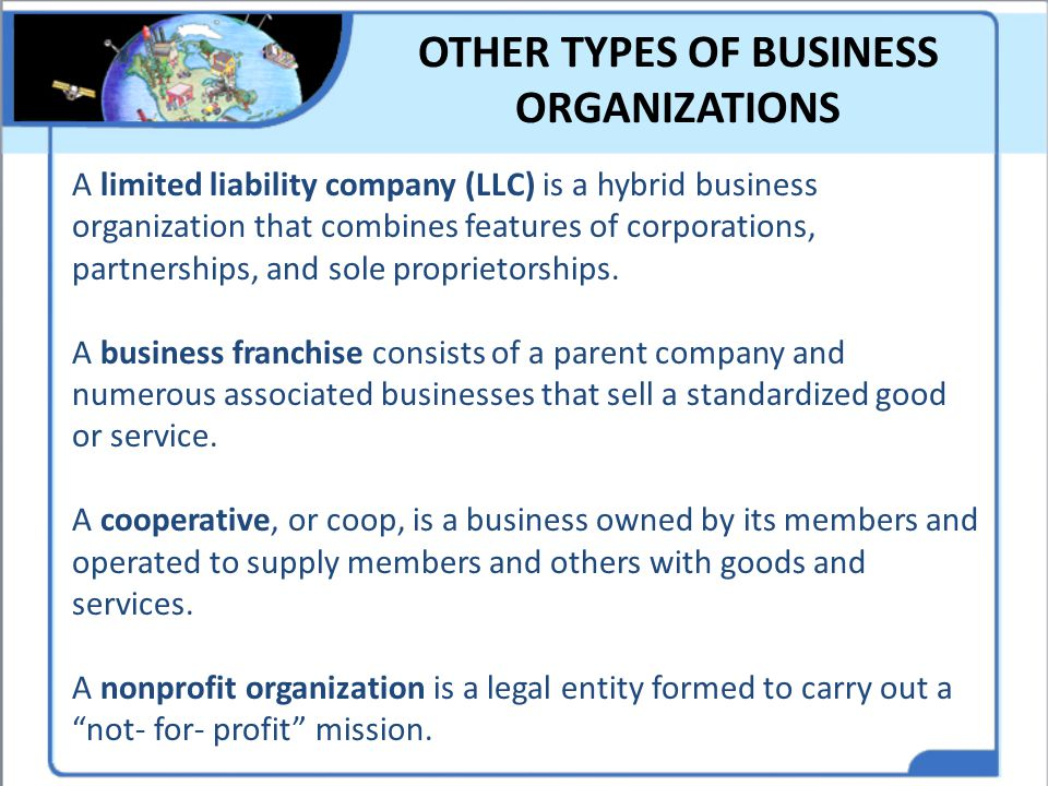 OTHER TYPES OF BUSINESS ORGANIZATIONS