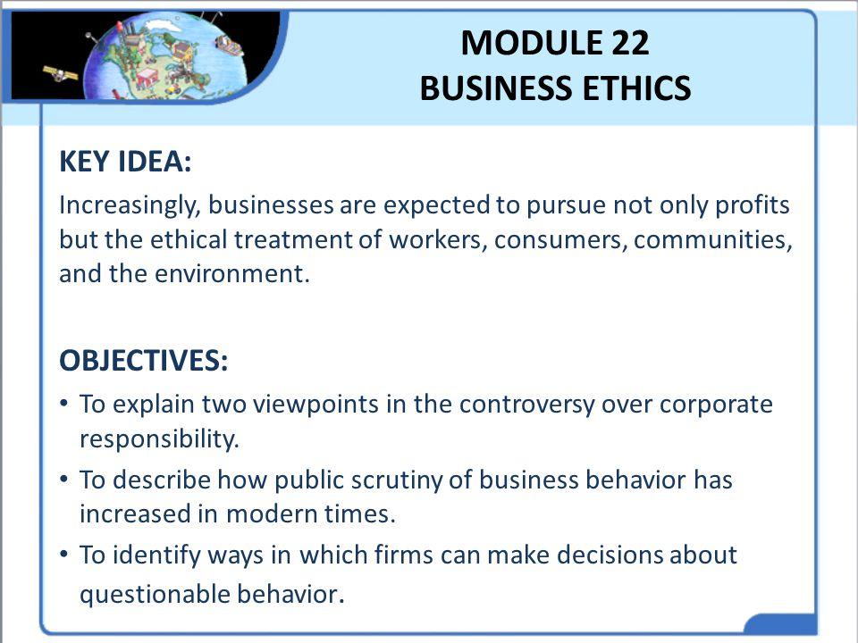 MODULE 22 BUSINESS ETHICS