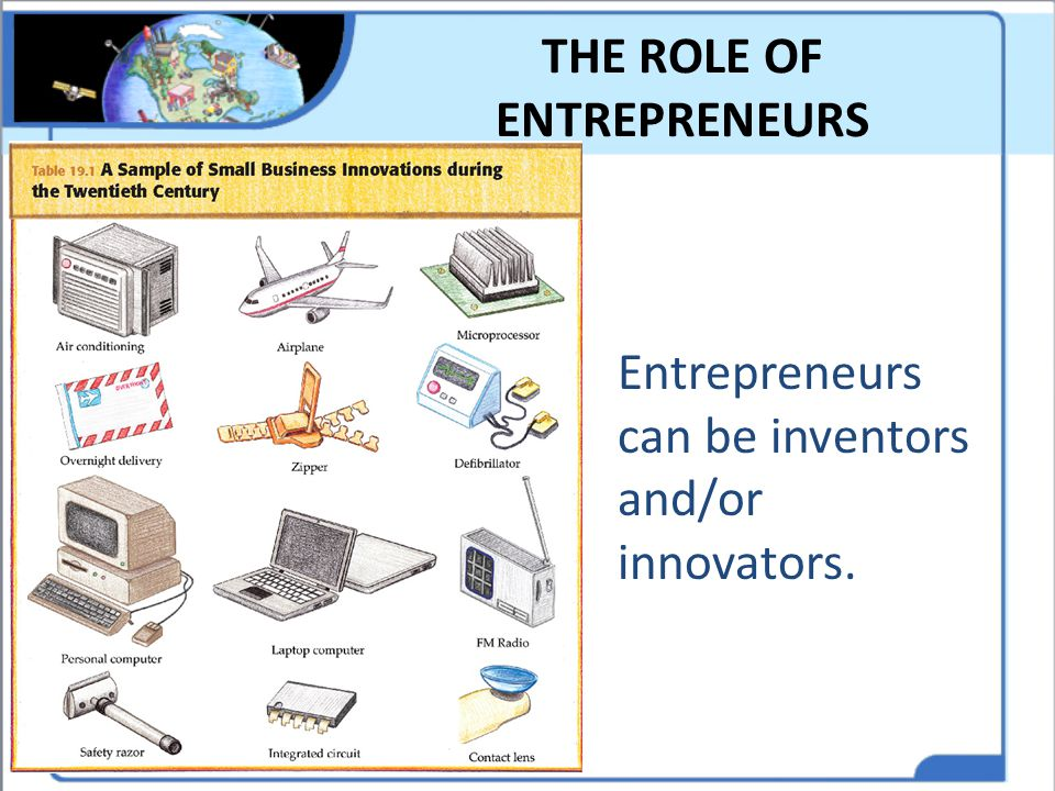 THE ROLE OF ENTREPRENEURS