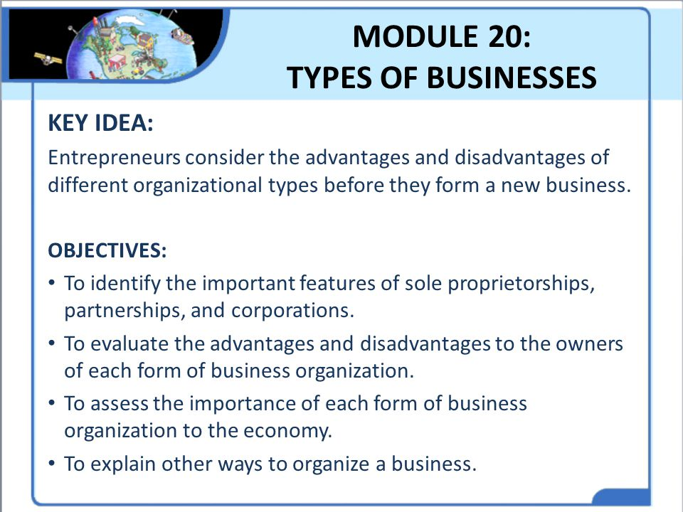 MODULE 20: TYPES OF BUSINESSES