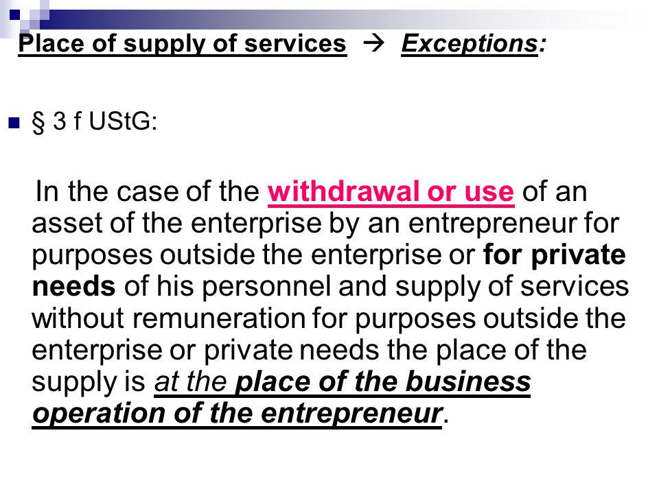 Place of supply of services  Exceptions: