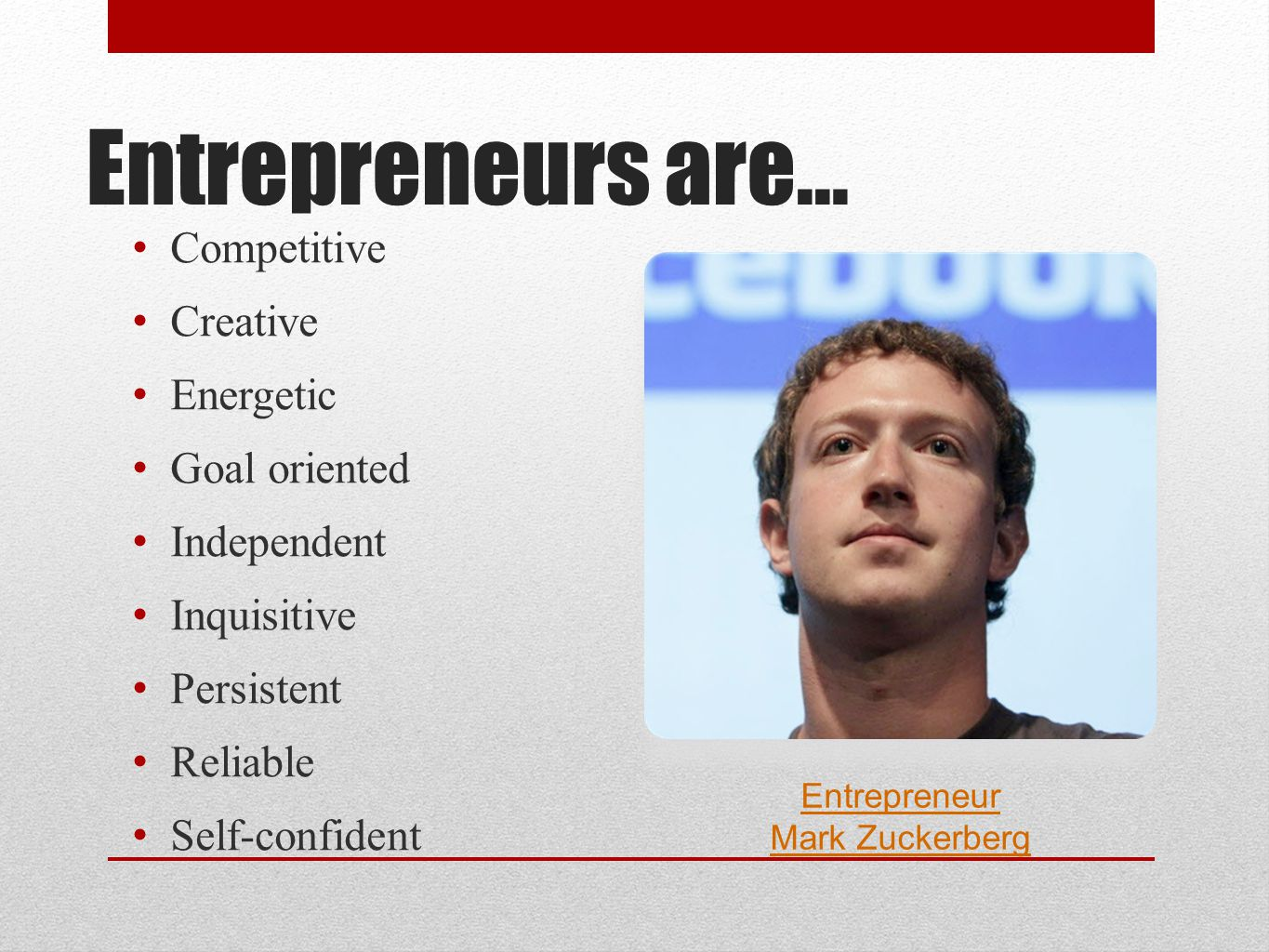 Entrepreneur Mark Zuckerberg