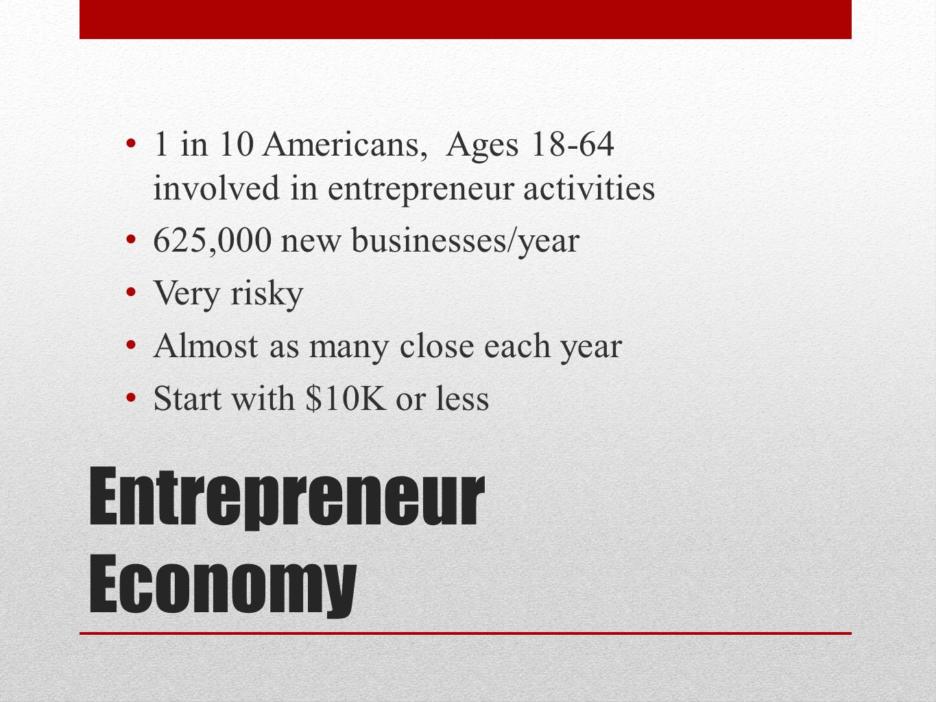 1 in 10 Americans, Ages 18-64 involved in entrepreneur activities