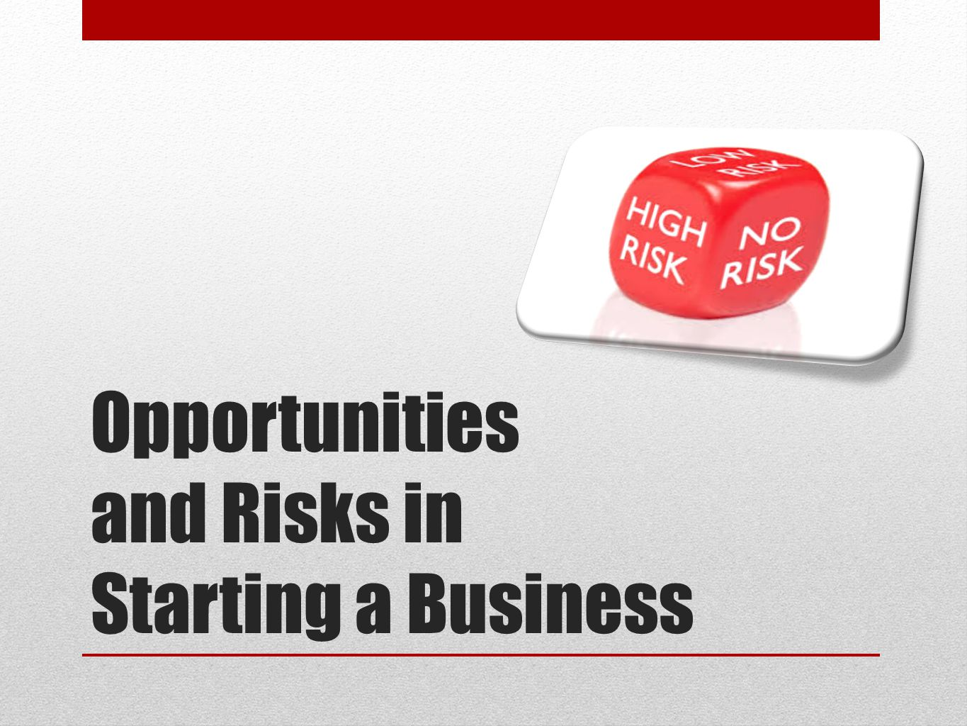 Opportunities and Risks in Starting a Business