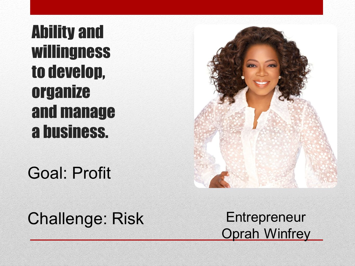 Ability and willingness to develop, organize and manage a business.