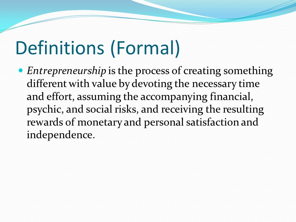 Definitions (Formal)