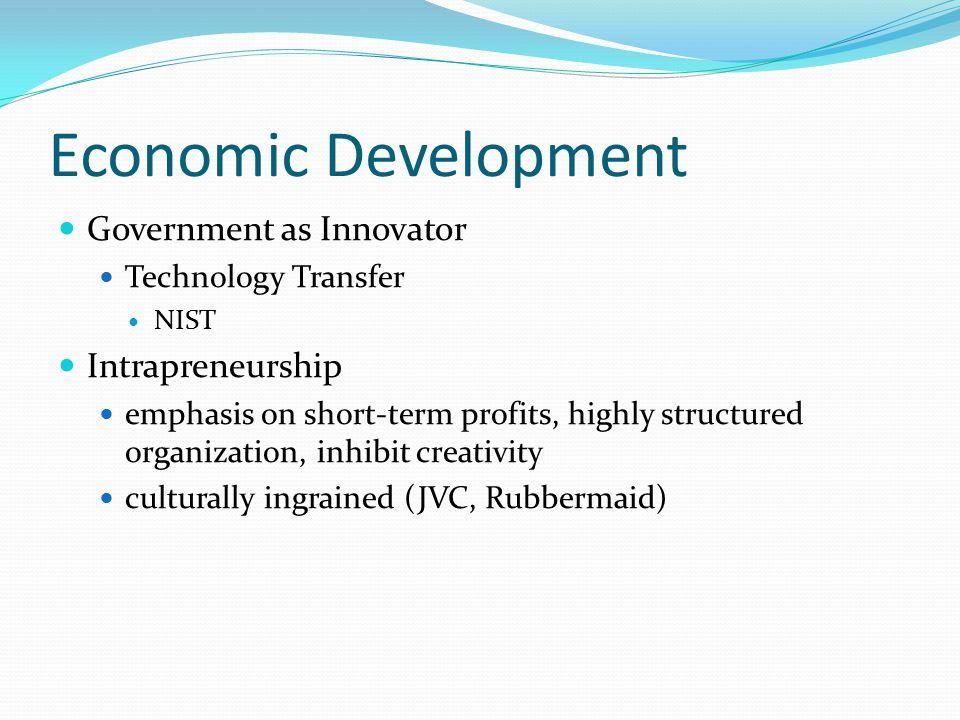 Economic Development Government as Innovator Intrapreneurship