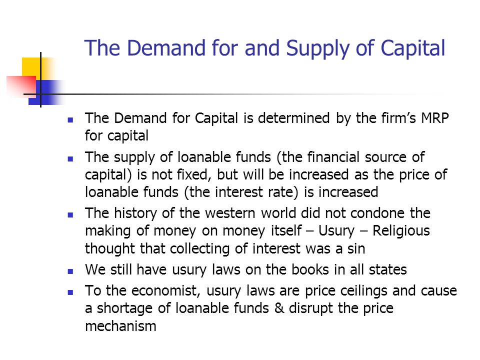 The Demand for and Supply of Capital
