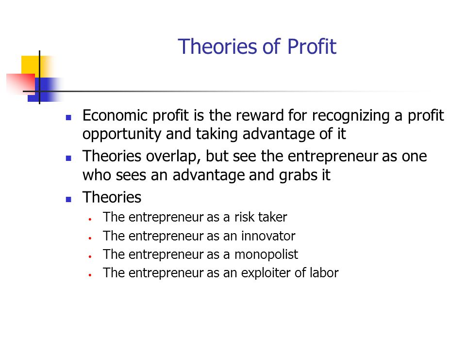Theories of Profit Economic profit is the reward for recognizing a profit opportunity and taking advantage of it.