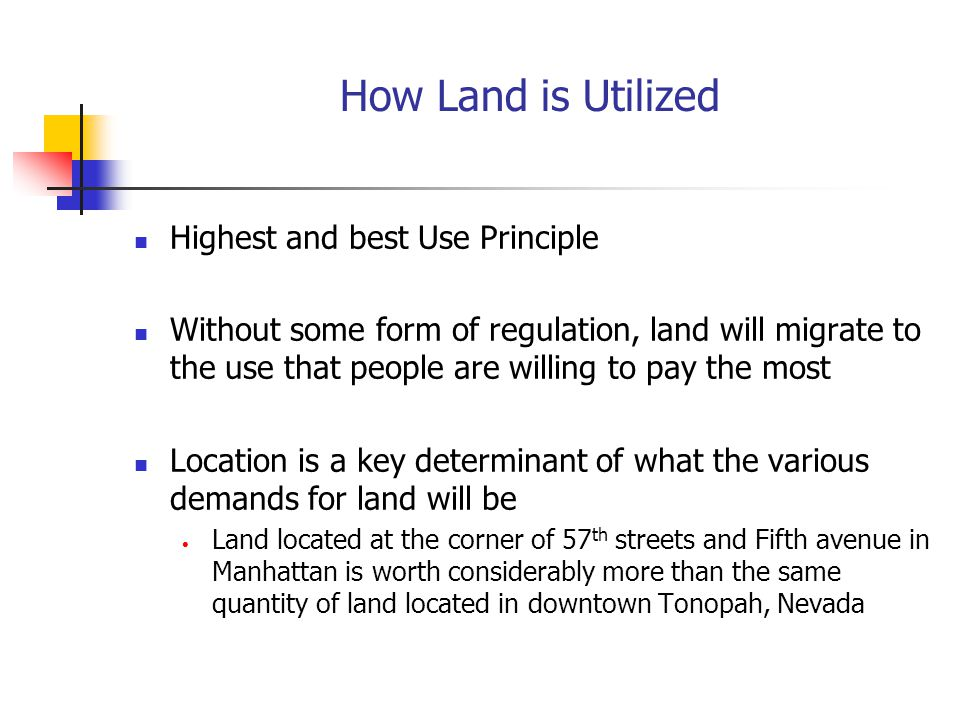 How Land is Utilized Highest and best Use Principle