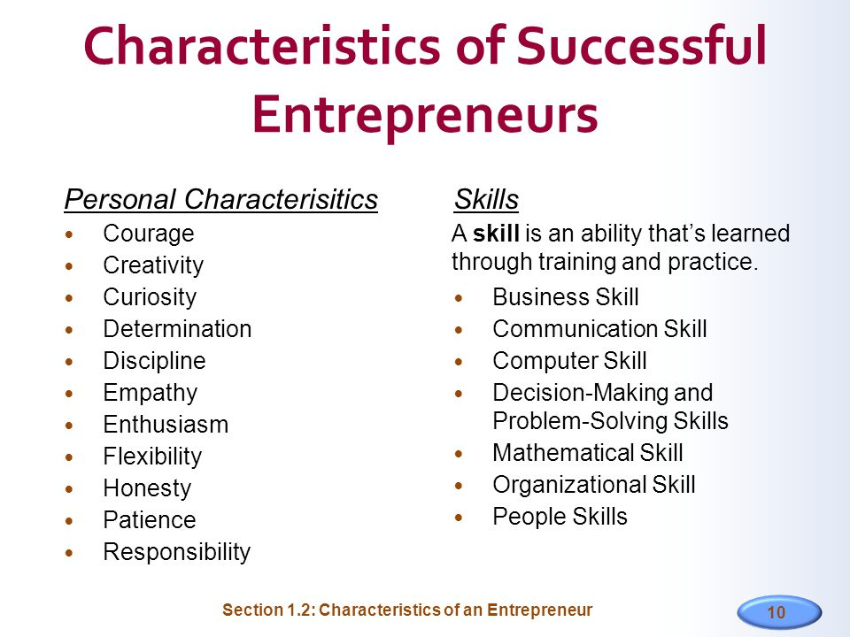 entrepreneurial skills and characteristics Home articles and tools  entrepreneurial skills  be an effective leader  7 key leadership skills for entrepreneurs start or buy a business business strategy and planning.