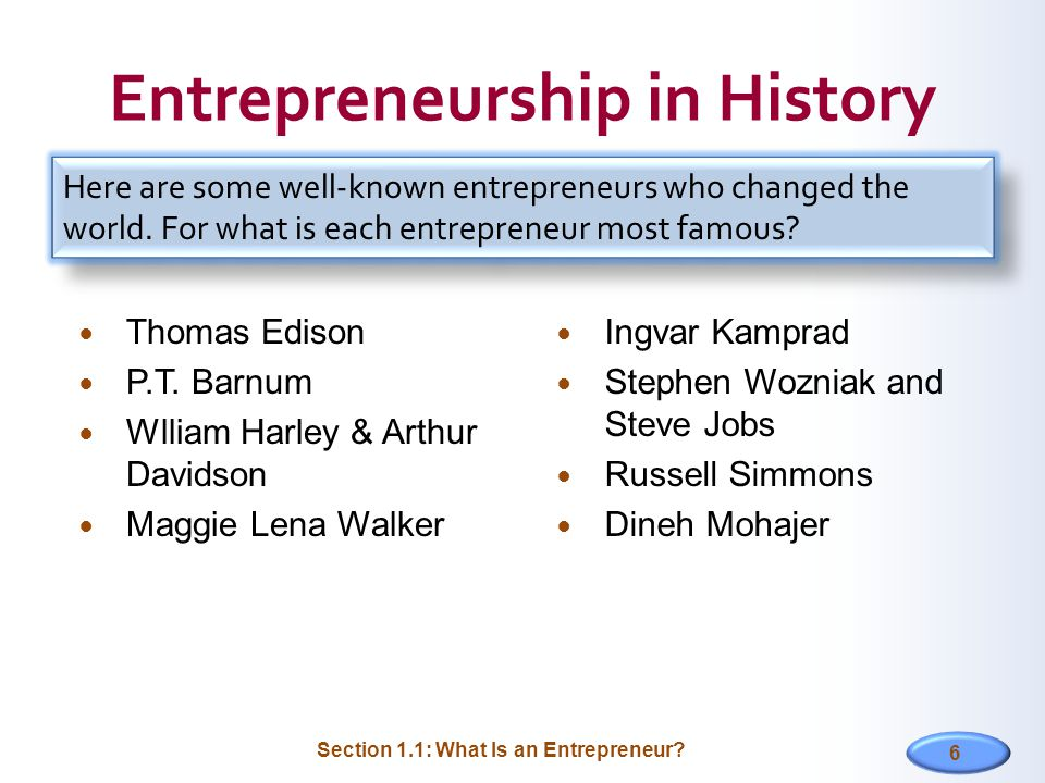 Entrepreneurship in History