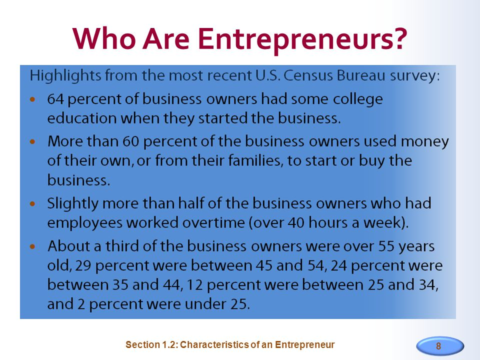 Section 1.2: Characteristics of an Entrepreneur