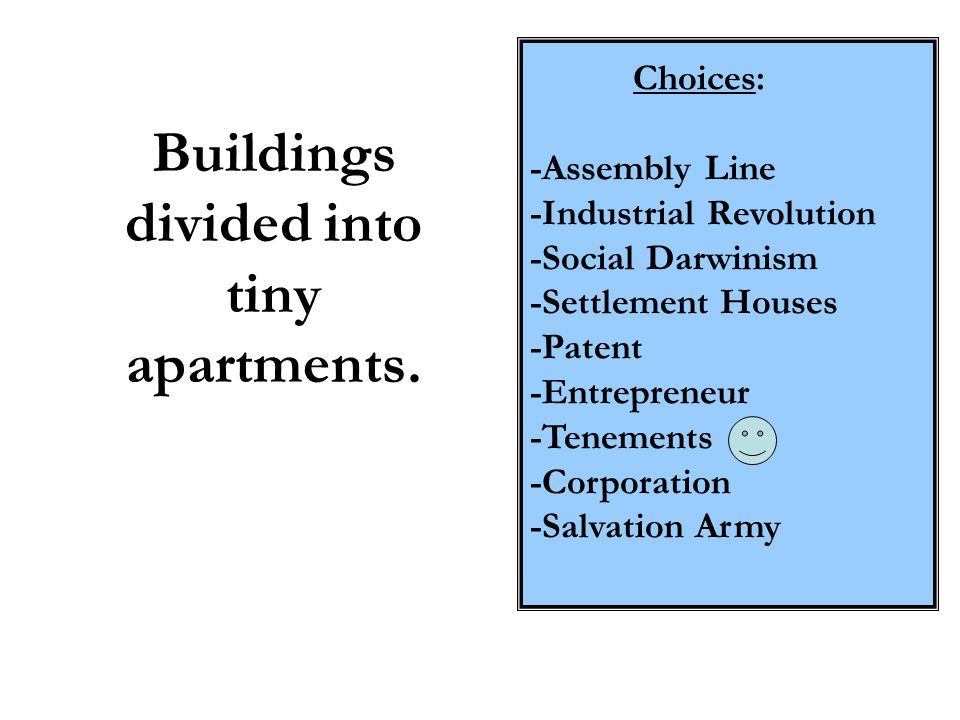 Buildings divided into tiny apartments.