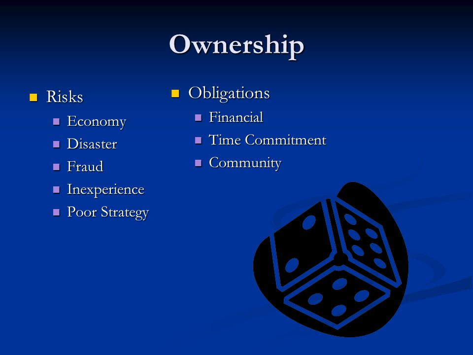 Ownership Obligations Risks Financial Economy Time Commitment Disaster