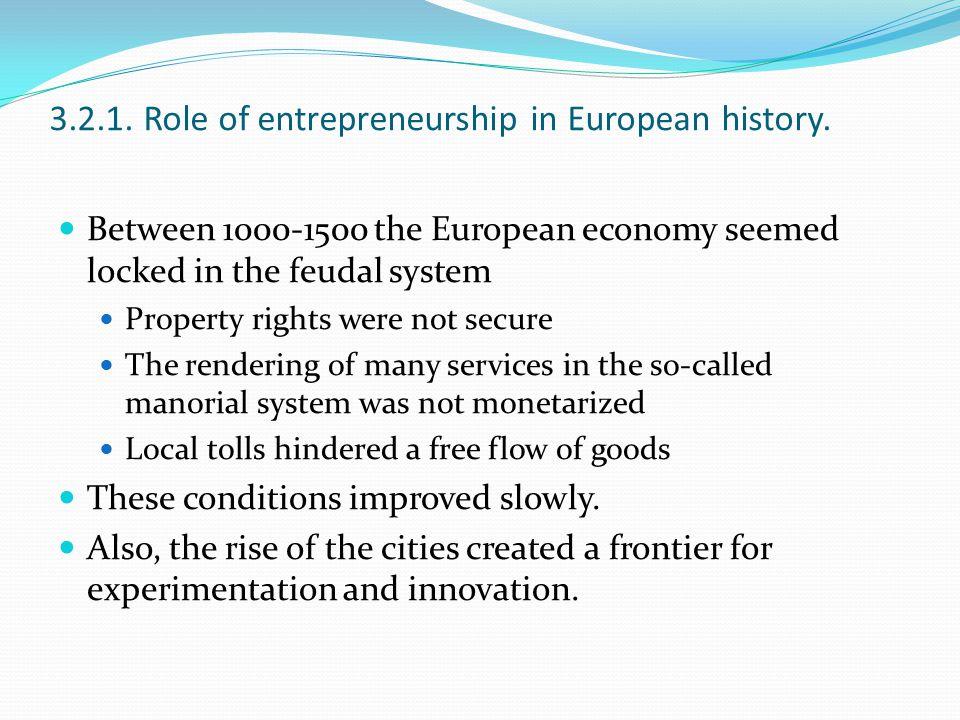 3.2.1. Role of entrepreneurship in European history.