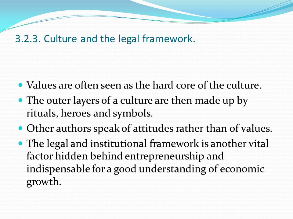 3.2.3. Culture and the legal framework.